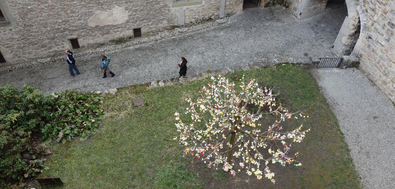 Copacul impodobit de Paste cu oua pictate