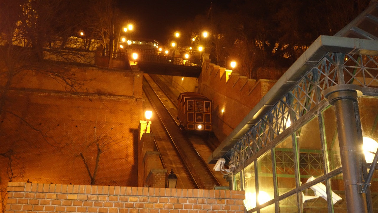 Funicularul catre/dinspre Castelul Buda (Buda Var)