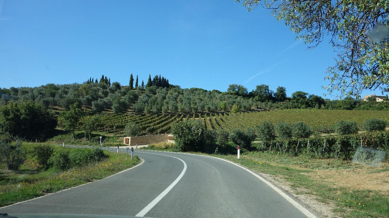 Drum serpuitor printre colinele pline de vita de vie din Toscana