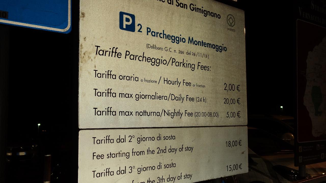 Tarife parcare P1 - San Gimignano