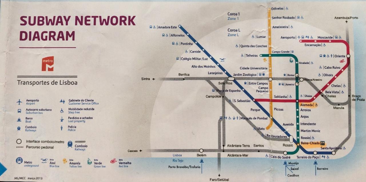 Harta retelei metroului din Lisabona