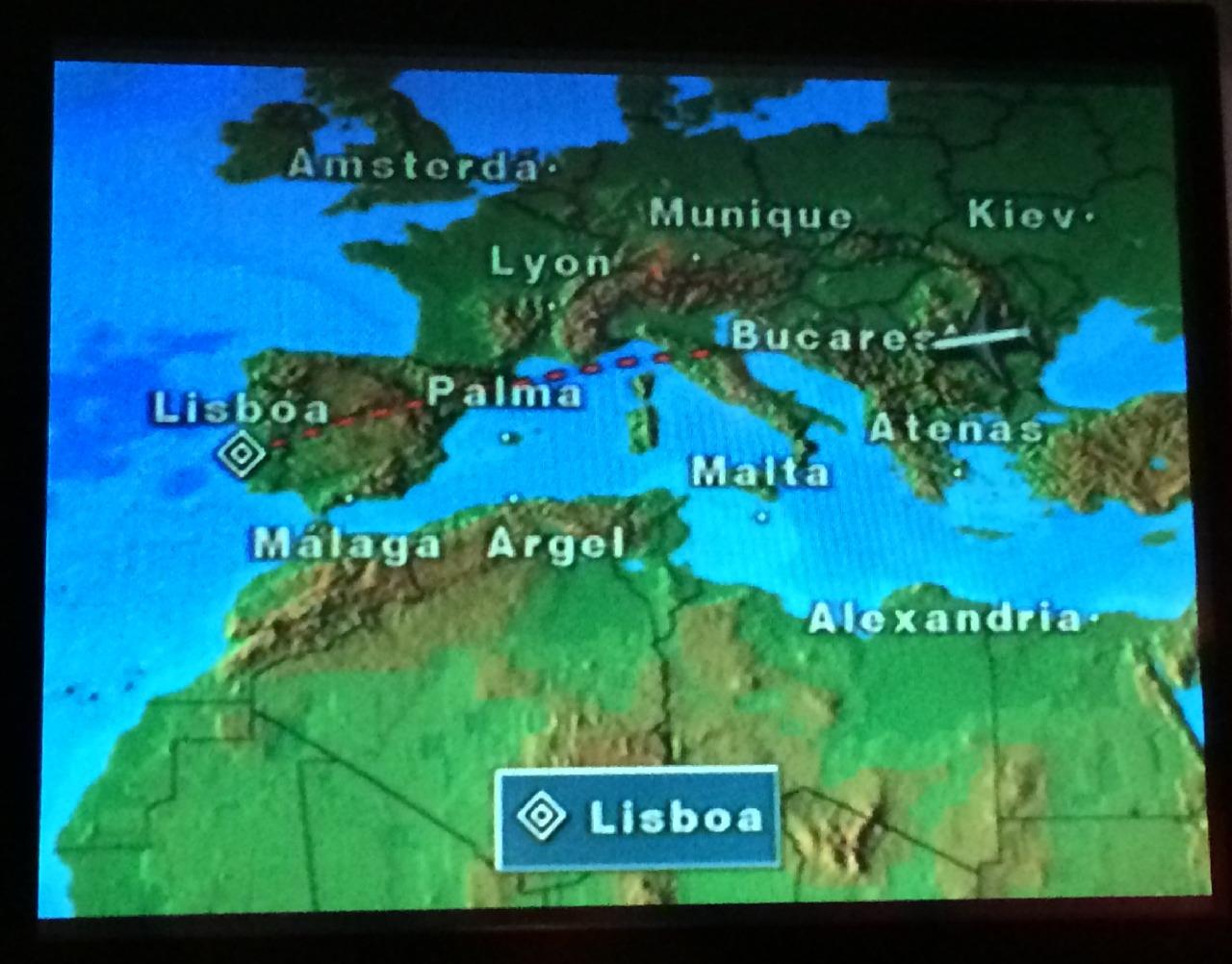 Traseul zborului catre Lisabona
