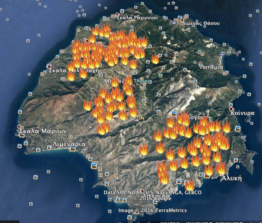 Harta raspandirii incendiilor 11.09.2016