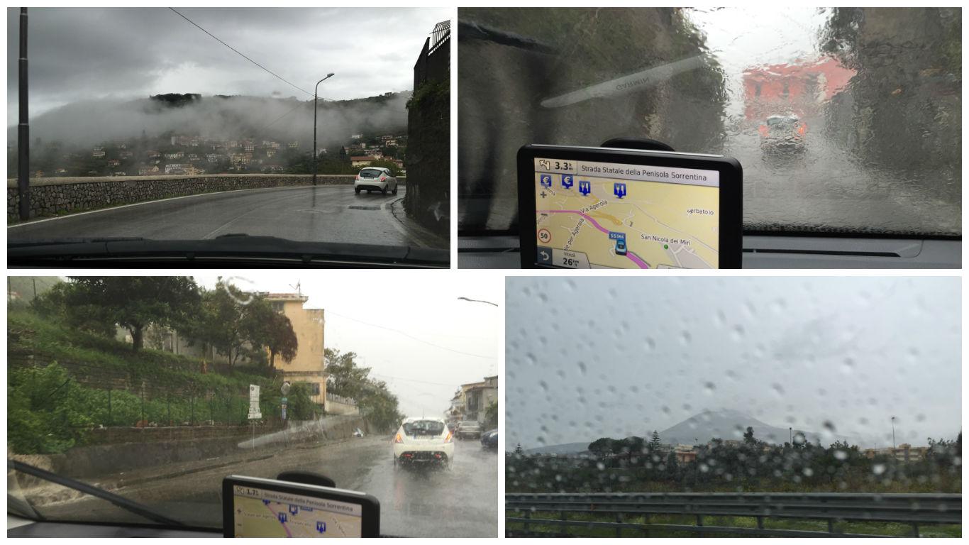 Ploaie torentiala in drum spre Napoli